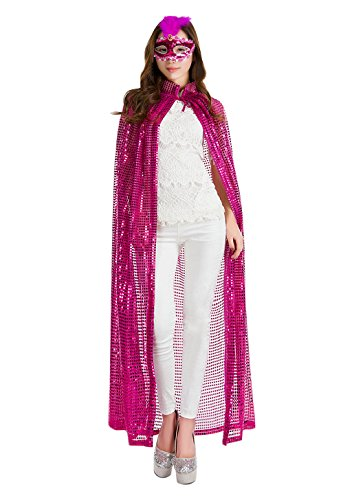 Women's Halloween Cloak Costume Bling Full Length Sequins Cape