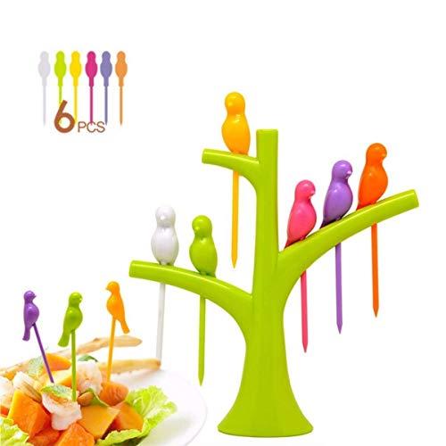 Creative Birds Tableware Tool 6Pcs Fruit Fork+1 Fork Holder Stand Set Plastic Furit Vegetable Forks Kitchen Accessories