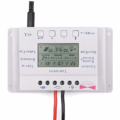 T10 PWM LCD 10A 12V/24V Solar Panel Battery Regulator Charge Controller Three Time Interval by SPK603