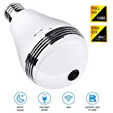 BroElec Panoramic Light Bulb Camera 360 Degree Smart WiFi, 1080P HD Security Surveillance Camera with IR Motion Detection, Night Vision, Two-Way Communication for Home Baby Pets, Support 128G SD Card