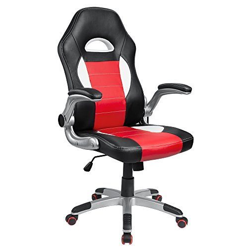 Homall Ergonomic Series Executive Computer Gaming Office Racing Style Swivel Chair with High Back,Seat Height Adjustment (Red)