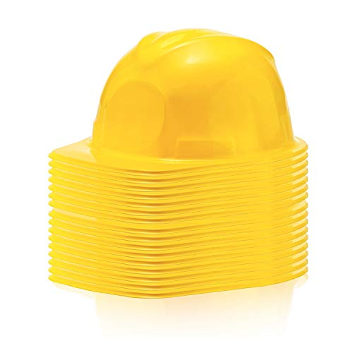 24 Pack of Yellow Construction Party Hats for Kids | Awesome Hard Hats for Goody Bags, Pretend Play and Builder Costumes]()