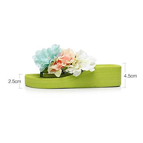 Chaussures mode 5 jaune Pour UK3 CN35 4 bleu femme taille HAIZHEN vert EU36 chaussures pour Couleur femmes 5cm d'été Vert Blanc blanc femmes nouvelle nOxX481