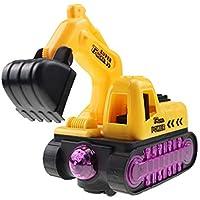 Qiuue Children Electric Excavator Flash Music Toy Car (Yellow)