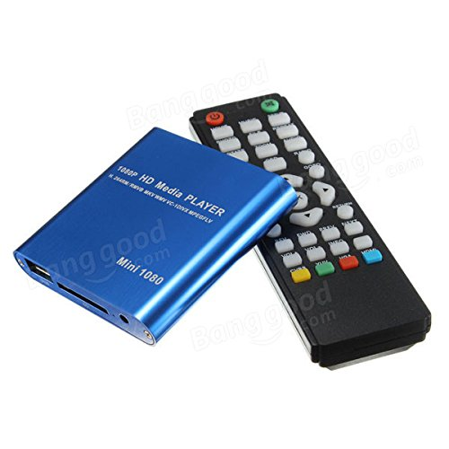 1080P Mini HDD Media Player MKV/H.264/RMVB Full With Card Reader - Home Audio & Video Home Theatre System - (Blue) - 1 x 1080P Mini Media Player SD USB HDD