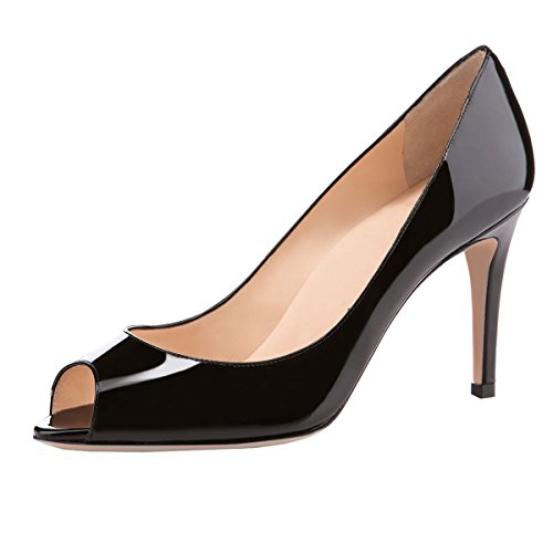 (Sammitop Women Stiletto Pumps High Heels 8CM Peep Toe Bridal Wedding Party Shoes Black US9)