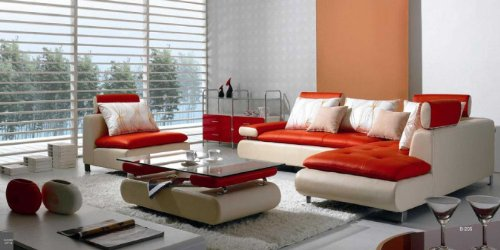 B 205 Modern Contemporary White And Red Leather Sectional Sofa