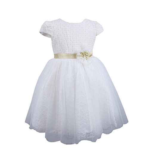 Nimble Little Girls' Satin Layered Princess Dress,Champagne or White,Size 4-12Y (Show Girl Outfits)
