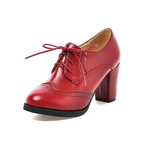 Heel Brogue up Odema Women Lace High Pumps Oxfords Shoes Boots Wingtip Red Ankle UFwq0