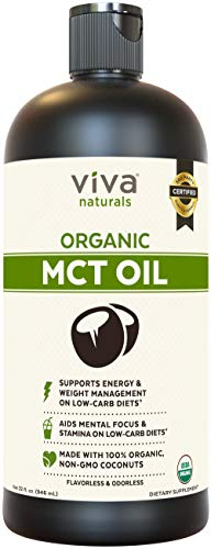 Viva Naturals USDA Organic MCT Oil (32 fl oz) – Made with 100% Organic Non-GMO Coconuts, Keto Friendly and Paleo Diet Certified