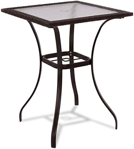 TANGKULA Patio Table Outdoor Garden Balcony Poolside Lawn Glass Top Steel Frame All Weather Dining Bistro Table Mix Brown Square 28.5