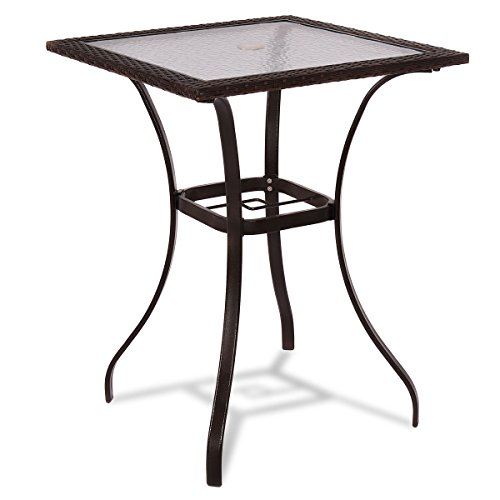 Tangkula Patio Table Outdoor Garden Balcony Poolside Lawn Glass Top Steel Frame All Weather Dining Bistro Table (Mix Brown Square ()