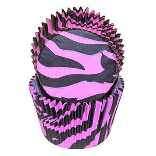 National Cake Supply Hot Pink and Black Zebra Cupcake Baking Liners - 50 Count]()