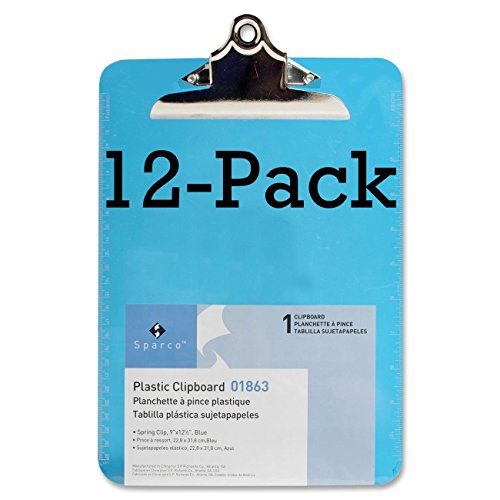 Value Pack of 12 - Sparco Plastic Clipboards-Transparent Plastic Clipboard, 9x12-1/2, Blue