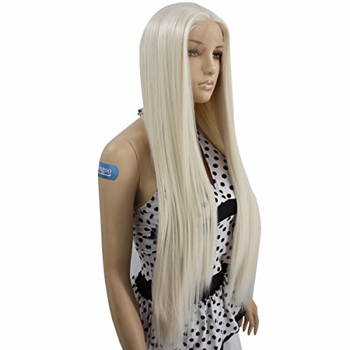 Ebingoo Platinum Blonde Long Straight Natural Synthetic Lace Front Wig 26 -