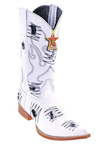 White Altos with Genuine Toe Skin Denim Los Western Men's Patch Leather 3X Boots HxSC7BcTwq