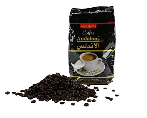 The Andalous Genuine Roasted Lebanese Coffee Whole Beans. From Tripoli, Lebanon. 500 Grams. 1.1 Lbs. 17.6 Ounces. Fresh Course Espresso Roast Arabica Coffee Beans