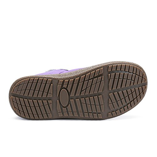 Men Women Outdoor Waterproof Snow Boots Fur Lined Anti-Slip Lightweight Winter Shoes Purple-high Top aw977A
