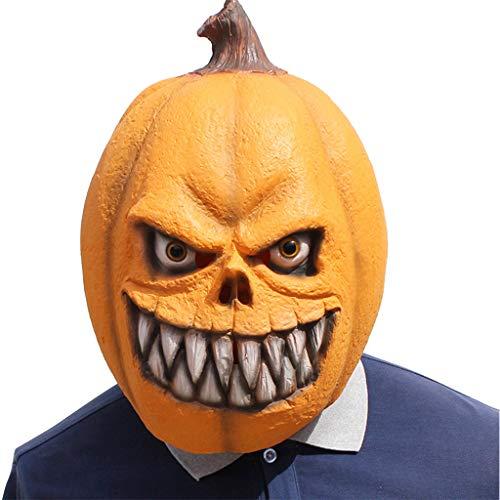 Anferstore Novelty Christmas Halloween Men's Party Props Latex Pumpkin Fiend Head Mask Yellow