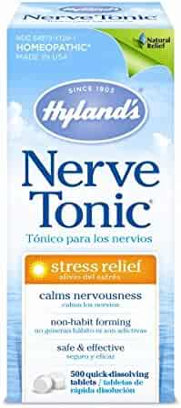 Stress and Anxiety Relief Supplement, Quick Dissolving Tablets, Nerve Tonic by Hyland's, Natural Relief of Restlessness, Nervousness and Irritability Symptoms, Non-Habit Forming, 500 Count