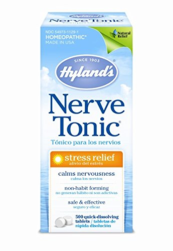 Hyland's Stress and Anxiety Relief Supplement, Nerve Tonic, Natural Relief of Nerve Pain, Restlessness, Nervousness and Irritability Symptoms, Quick Dissolving Tablets, Non-Habit Forming, 500 Count