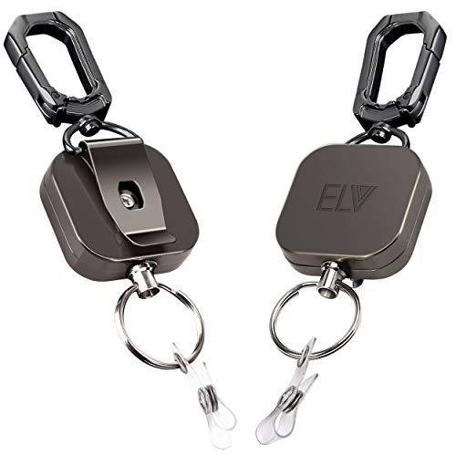 E LV Retractable ID Badge Holder | Heavy Duty Metal Body & Steel Cord | Carabiner Key Chain | Metal Keychain with Belt Clip and 24