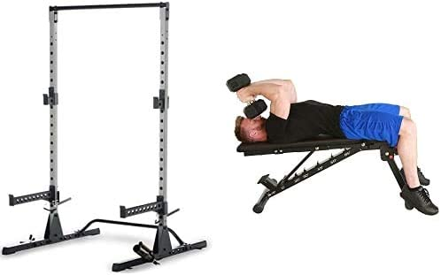 Multi-Function Adjustable Power Rack Exercise Squat Stand with J-Hooks