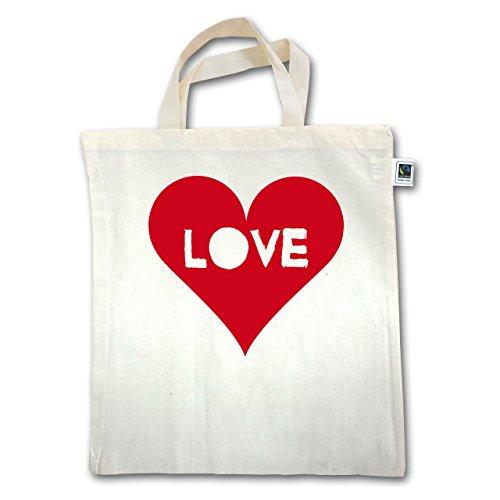 I love - Herz - Love - Unisize - Natural - XT500 - Jutebeutel kurzer Henkel Q033U