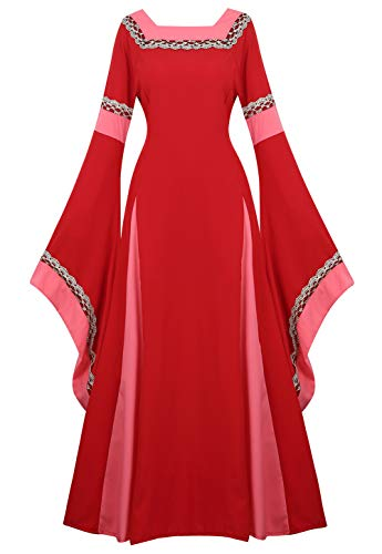 Renaissance Costume Women Medieval Dress Bell Sleeve Lace Up Vintage Retro Long Dress Halloween Cosplay Costumes, Red, Small]()