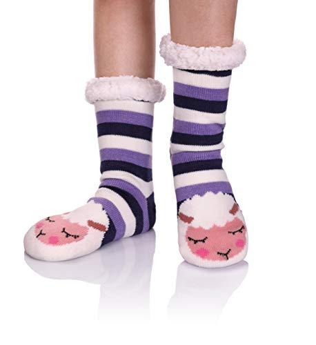 LINEMIN Women Slipper Sock - Super Cute Cartoon Animal Soft Sherpa Lined Nonskid Fuzzy Cozy Winter Socks (Stripe Sheep) (Stockings Lined Size Plus)