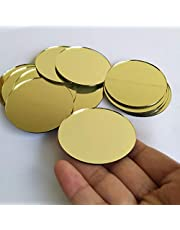 30PCS Glass Round Mirror Mosaic Tiles,Round Glass Mirror Mosaic, Round Craft Mirrors DIY Accessory (Yellow Gold, 2INCH)