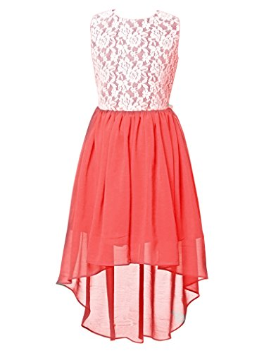 FAIRY COUPLE Little Girl's Lace Flower Asymmetrical Chiffon Bridesmaid Dress K0210 6 Coral