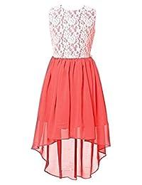 FAIRY COUPLE Girl's Lace Flower Asymmetrical Chiffon Bridesmaid Dress K0210