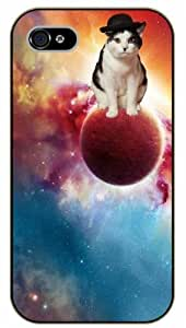 iPhone 4 / 4s Cat on planet - black plastic case / Cats, Hipster