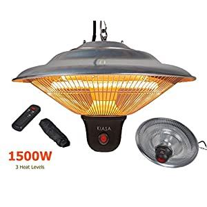 KIASA – 1500W – Ceiling Infrared Patio Heater – Garden Heater – IP34 Outdoor Heater – Remote control – (Free Watertight Storage Cover) – Adjustable chain Height – 3 Heat level 500/1000/1500w