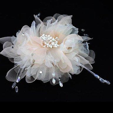 YiLuFanHua MJW/&G Handmade Champagne Chiffon Flower Feather Hair accessories Bridal Wedding Fascinator