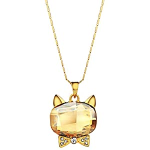 NEOGLORY Champagne Crystal Cat Head Shaped Pendant Necklace 16″ Embellished with Crystals from Swarovski