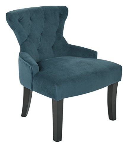 AVE SIX Curves Upholstered Hour Glass Accent Chair with Espresso Finish Wood Legs, Azure (Office Star Quick Assembly)