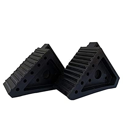 SLT Gdpodts 2 Pack Solid Rubber Wheel Chocks with Handle Black Heavy Duty Wheel Blocks for Cars, Trucks: Automotive