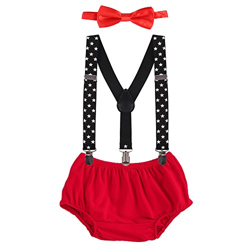 OBEEII Cake Smash Outfits Baby Boy 1st Birthday Party Suspenders Diaper Nappy Cover Bow Tie Red & Star ()