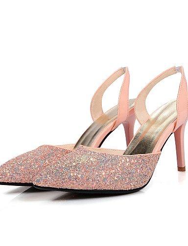 LFNLYX Zapatos de mujer-Tacón Stiletto-Tacones / Talón Descubierto / Puntiagudos-Sandalias-Vestido / Casual / Fiesta y Noche-Satén Elástico- White