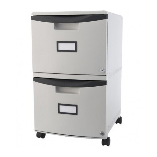 Pedestal File Cabinet Mobile with Two Locking Drawers Grey by Storex