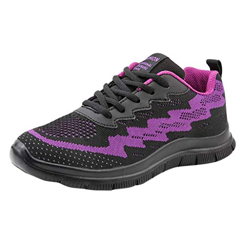 (Xinantime Outdoor Walking Shoes Running Shoes Breathable Air Cushion Sneakers Lace-Up Casual Shoes Purple)