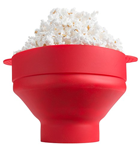 Microwave Silicone Collapsible Popcorn Popper by Kitchen Winners (Red) -