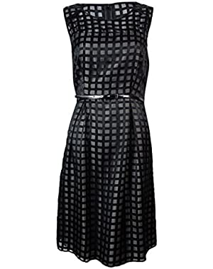 Calvin Klein Women's Belted Grid-Pattern A-Line Dress