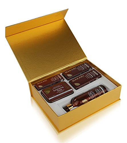 Makari Exclusive Skin Toning Gift Set – Complete Skin Lightening, Brightening & Toning Regimen with 16.8oz Toning Milk, 1.7oz Cream, 1.7oz Serum, 1.0oz Gel, 7oz. Exfoliating Soap ()