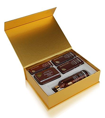 Makari Exclusive Skin Toning Gift Set – Complete Skin Lightening, Brightening & Toning Regimen with 16.8oz Toning Milk, 1.7oz Cream, 1.7oz Serum, 1.0oz Gel, 7oz. Exfoliating Soap