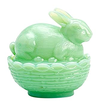 Covered Glass Bunny on Basket Dish – Green Jadeite, Made in USA by Mosser