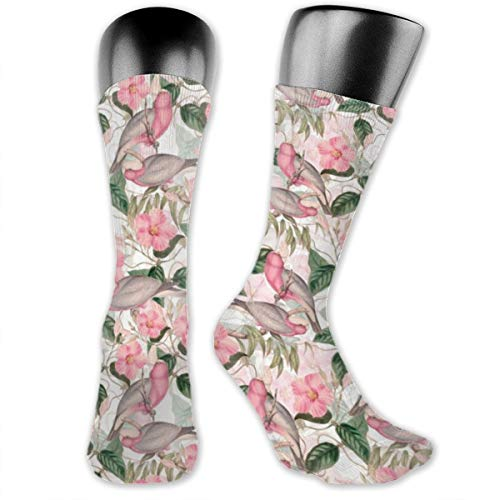 Victorian Blush Pink Watercolor Birds and Flowers Casual Athletic Crew Socks Running Gym Compression Foot ()
