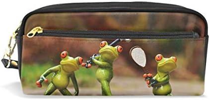 Eslifey - Estuche de piel sintética para lápices y bolígrafos, diseño de ranas: Amazon.es: Oficina y papelería